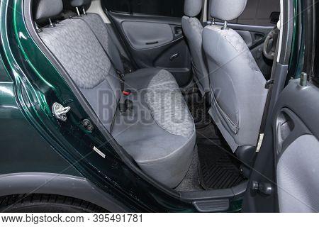 Novosibirsk, Russia - November 16, 2020: Toyota Yaris, Comfort Car Inside. Clean Car Interior: Black