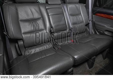 Novosibirsk, Russia - November 16, 2020: Toyota Land Cruiser Prado,  Comfort Car Inside. Clean Car I