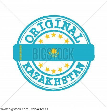 Vector Stamp Of Original Logo With Text Kazakhstan And Tying In The Middle With Nation Flag. Grunge