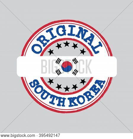 Vector Stamp Of Original Logo With Text South Korea And Tying In The Middle With Nation Flag. Grunge