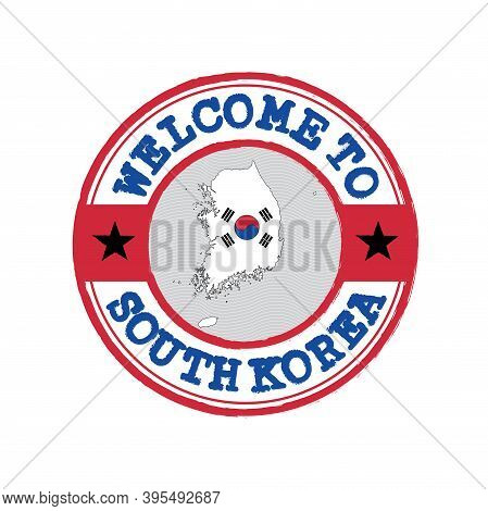 Vector Stamp Of Welcome To South Korea With Map Outline Of The Nation In Center. Grunge Rubber Textu
