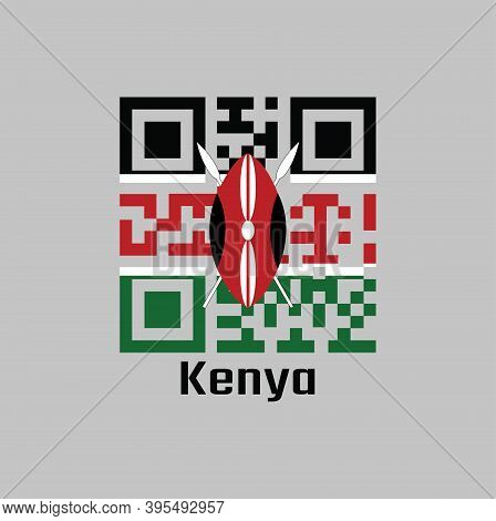 Qr Code Set The Color Of Kenya Flag. A Horizontal Of Black, White Red, And Green With Two Crossed Wh