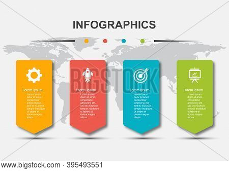 Infographic Design Template With 4 Steps And Shadow, Stock Vector