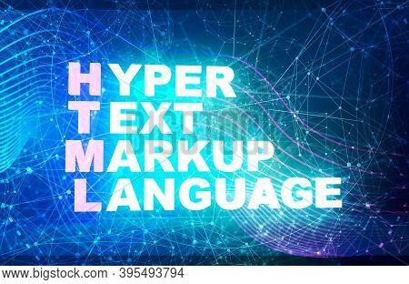 Acronym Html - Hyper Text Markup Language. Internet Conceptual Image. 3d Rendering. Neon Bulb Illumi