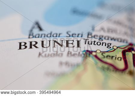 Shallow Depth Of Field Focus On Geographical Map Location Of Brunei City Brunei Asia Continent On At