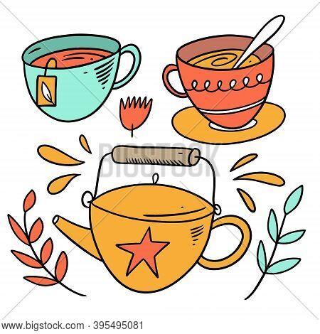 Tea Elements Set Doodle Style. Colorful Cartoon Vector Illustration.