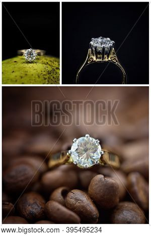 Collage Of Images Of A One Carat Solitaire Diamond Ring Against Different Backgrounds