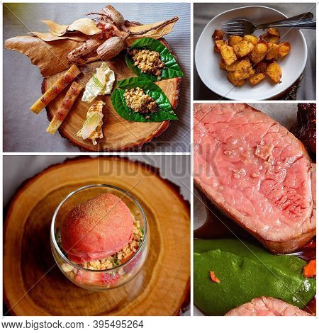 A Collage Of Bush Tucker Foods Including Green Ants, Meat And Sorbet - Fine Dining