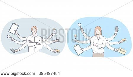 Multitasking In Business And Office Work Concept. Young Smiling Man And Woman Business People Office
