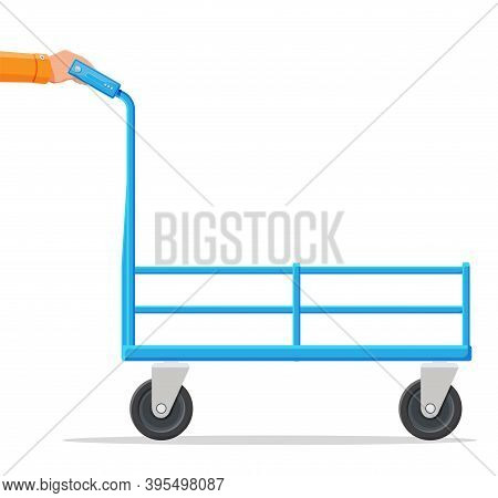 Empty Barrow Isolated On White. Metallic Four Wheeled Trolley. Hand Truck Dolly Icon. Transportation