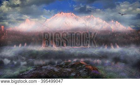 Beautiful Fantasy Landscape, Mountain Background Forest 3d Render High Quality 3d Illustration