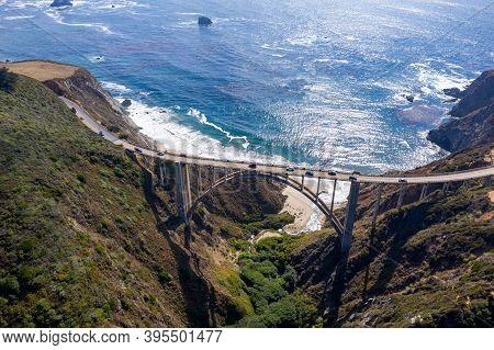 Bixby Bridge On The Pacific Coast Highway (highway 1) Near Big Sur, California, Usa.