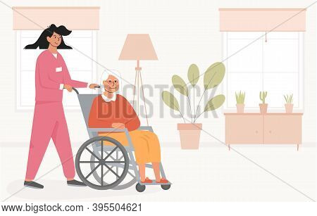 Residential Care Facility. A Nurse With Old Woman On Wheelchair. A Bedroom In Nursing Home Or Retire