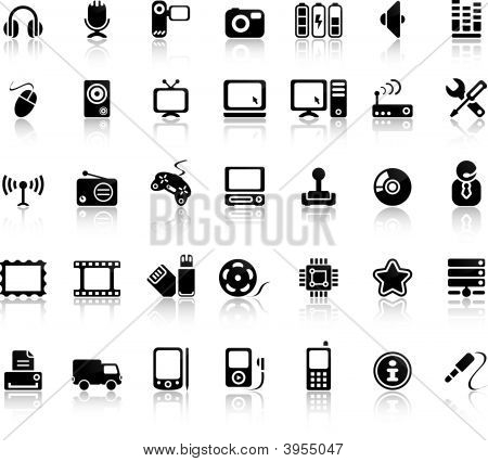 Video And Audio Vector Black Icon Set poster