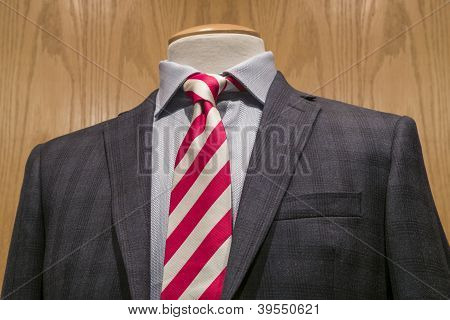 Dark Grey Jacket With Red & White Striped Tie