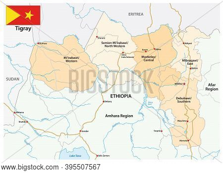 Road And Administrative Vector Map Of The Tigray Region, Ethiopia