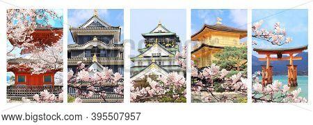 Hanami festival. Sakura blossom season in Japan. Set of vertical banners with landmarks of Japan. Golden Pavilion (Kinkaku-ji Temple) in Kyoto, O-Torii gate, Okayama and Osaka Castles
