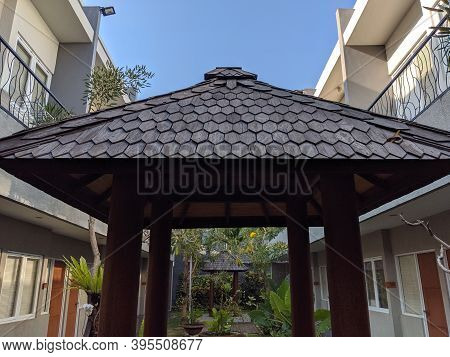 Denpasar, Indonesia - October 5, 2019: Background Of Two Story Building Of Seruni Guest House.