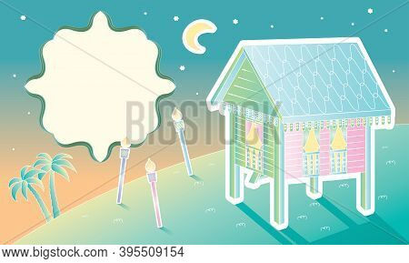 A Malay Style Old House And Countryside Scene. With A Blank Space To Insert Wording.
