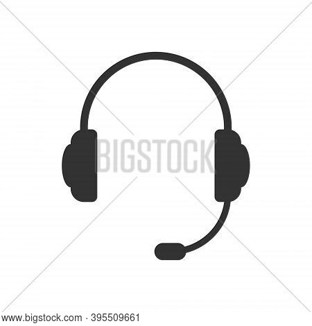 Headphones With Microphone Vector Icon. Headset Symbol. Earphone Sign. Volume And Audio Sound Logo.