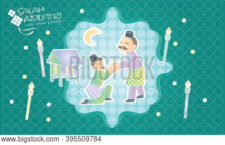 A Muslim Youngster Is Greeting To A Senior, With Malay Motif And Elements. Caption: Happy Hari Raya.