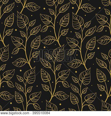 Vector Seamless Pattern With Vertical Abstract Foliate Branches; Gold Twigs On Black Background; For