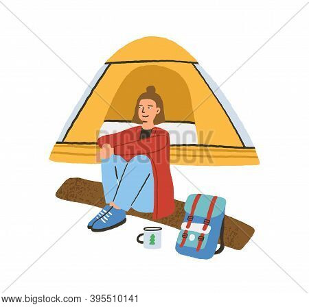 Traveling Alone Concept. Young Woman Sitting On Log Near Camping Tent. Enjoying Outdoor Recreation I