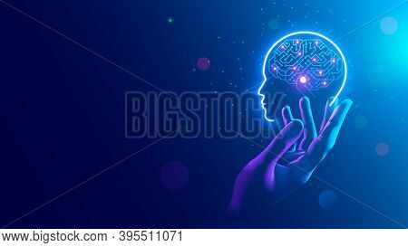 Ai. Electronic Brain. Neon Silhouette Of Human Head With Artificial Intelligence Hanging Over Palm H