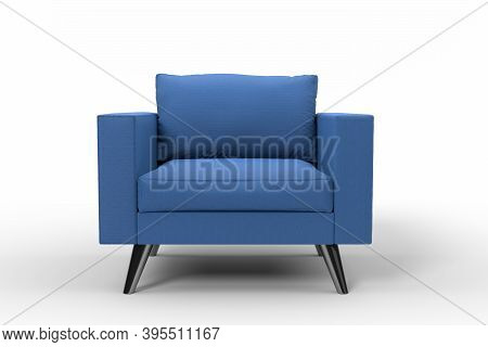 Blue Armchair With Pillows On Studio White Background. 3d Rendering And Illustration Of Recliner