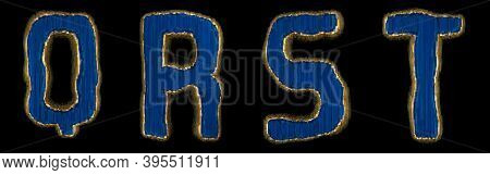 Set of alphabet letters Q, R, S, T made of industrial metal blue color. Isolated black background. 3d rendering