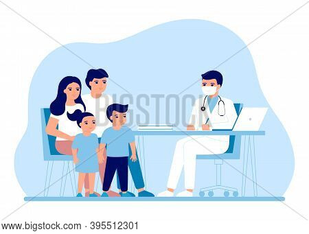Consultation Family Parents And Children In Clinic Medical Office. Medical Family Advice, Doctor Sup