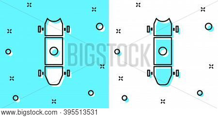 Black Line Longboard Or Skateboard Cruiser Icon Isolated On Green And White Background. Extreme Spor