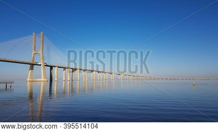 The Vasco Da Gama Bridge In Lisbon, Portugal. It Is The Longest Bridge In Europe.