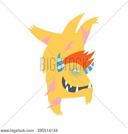 Furry Comic Monster With Horns Doing Handstands Vector Illustration