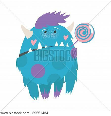 Hairy Monster With Horns Standing And Sucking Lollipop Vector Illustration