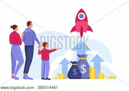 Family Budget Planning Or Income Growth Investment Illustration With Arrows, Happy People, Rocket, M