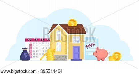 House Mortgage Cartoon Vector Illustration With Building, Calendar, Piggy Bank, Money, Contract. Ren