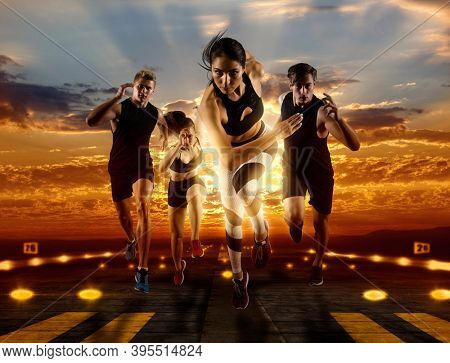 Sport collage. Man and woman on runway background. Sports banner