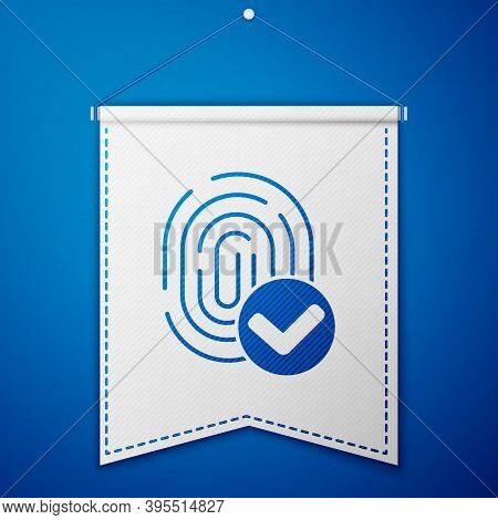 Blue Fingerprint Icon Isolated On Blue Background. Id App Icon. Identification Sign. Touch Id. White