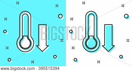 Black Line Meteorology Thermometer Measuring Icon Isolated On Green And White Background. Thermomete