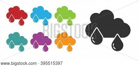 Black Cloud With Rain Icon Isolated On White Background. Rain Cloud Precipitation With Rain Drops. S