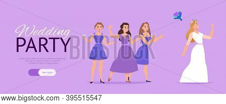 Wedding Party Website Horizontal Lilac Background Web Banner With Marriage Ceremony Bridal Bouquet S