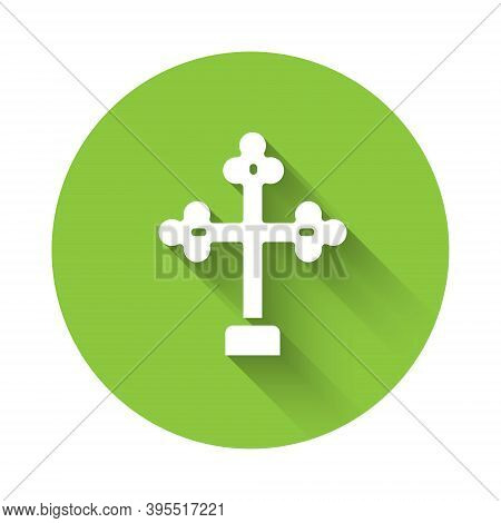 White Christian Cross Icon Isolated With Long Shadow. Church Cross. Green Circle Button. Vector
