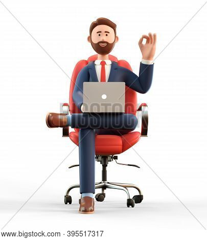 3d Illustration Of Happy Smiling Businessman In Suit With Laptop Sitting In Armchair And Showing  Ok