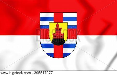 3d Flag Of Trier-saarburg (rhineland-palatinate), Germany. 3d Illustration.