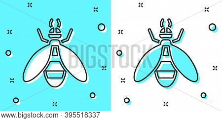 Black Line Bee Icon Isolated On Green And White Background. Sweet Natural Food. Honeybee Or Apis Wit