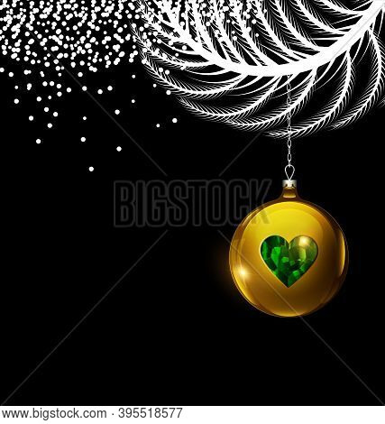 Vector Black White Christmas With Gold Ball