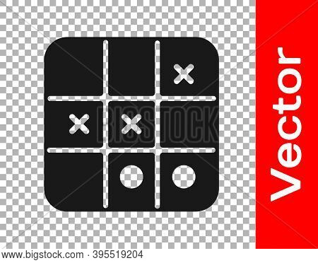 Black Tic Tac Toe Game Icon Isolated On Transparent Background. Vector