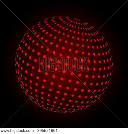 Abstract Background With Red Sphere. Vector Illustration. Technology Shape With Dots. Futuristic Con