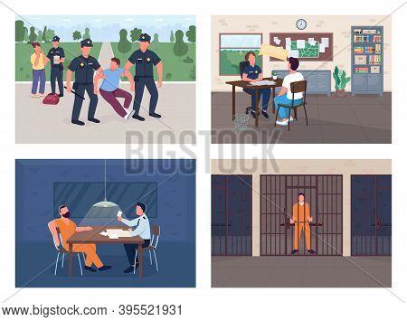 Police Investigation Flat Color Vector Illustration Set. Arrest Burglar. Officer Interview Victim. P